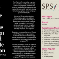 "Thumbnail for ""School of Public Relations (SoPR) - Effective Public Relations Campaign to Build Corporate Reputation - Bandung, 2-3 Juni 2016"""